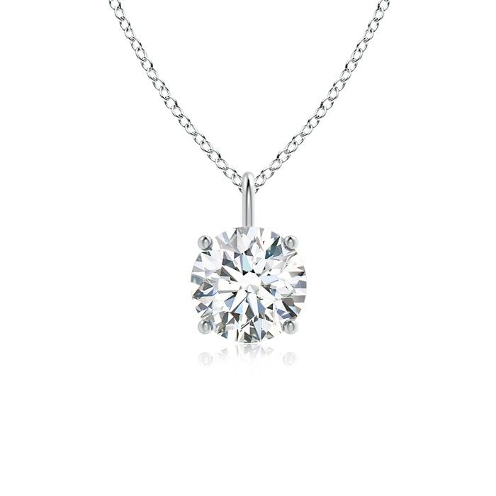 Angara Round Diamond Necklace with Halo soZEH