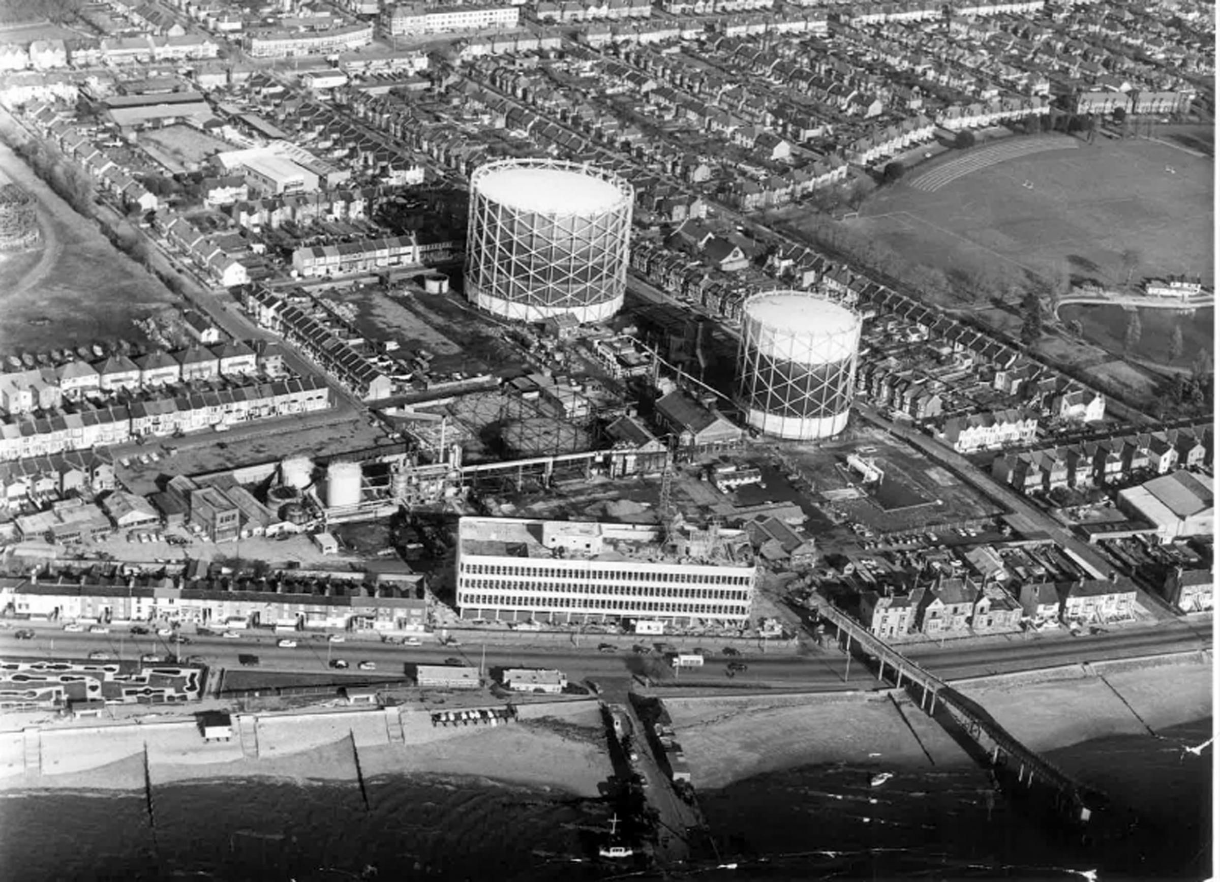 The Old Gasworks, Southend, 1970. My grandfather, William (Bill) Baldock, used to work here.