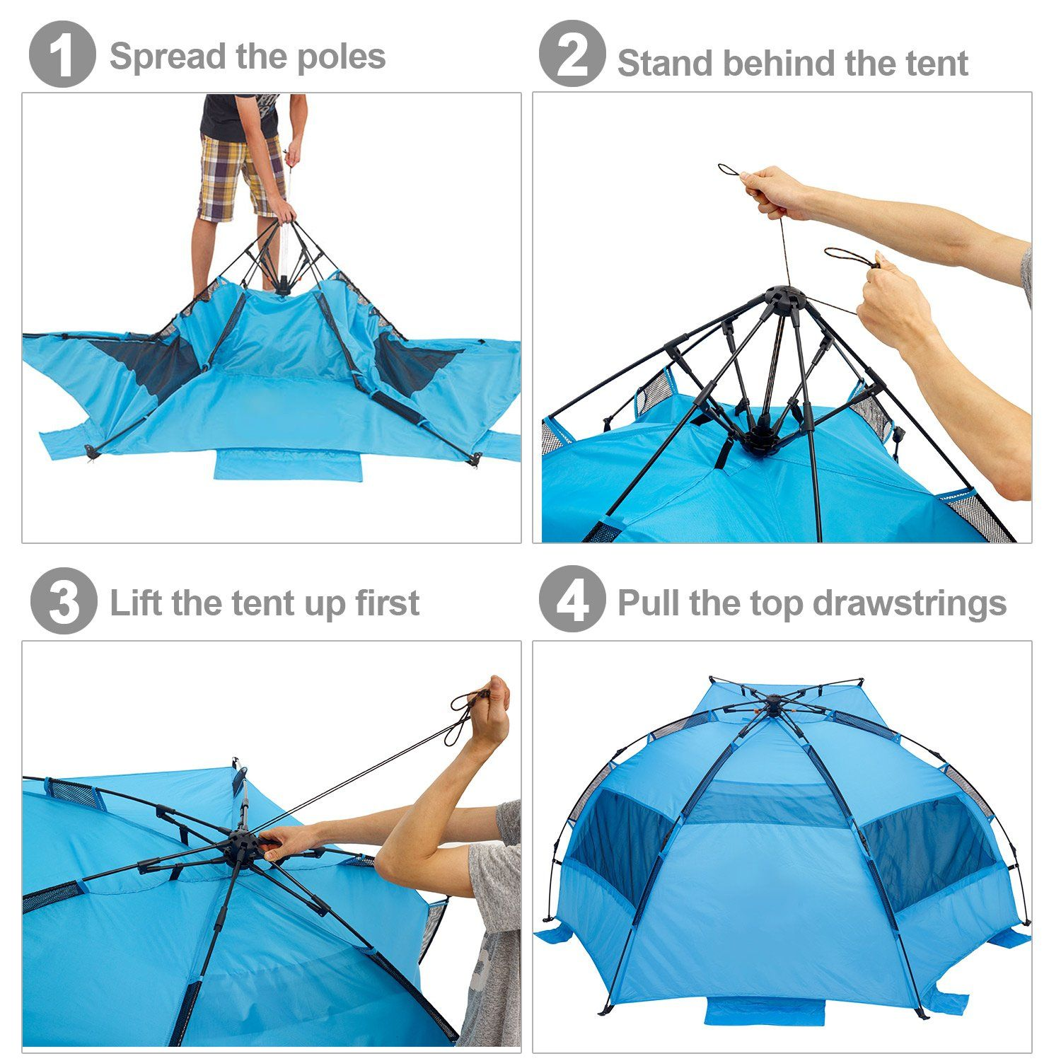 new style a2c0e 755c7 Ylovetoys 3~4 Persons Automatic Pop Up Beach Tent Instant ...