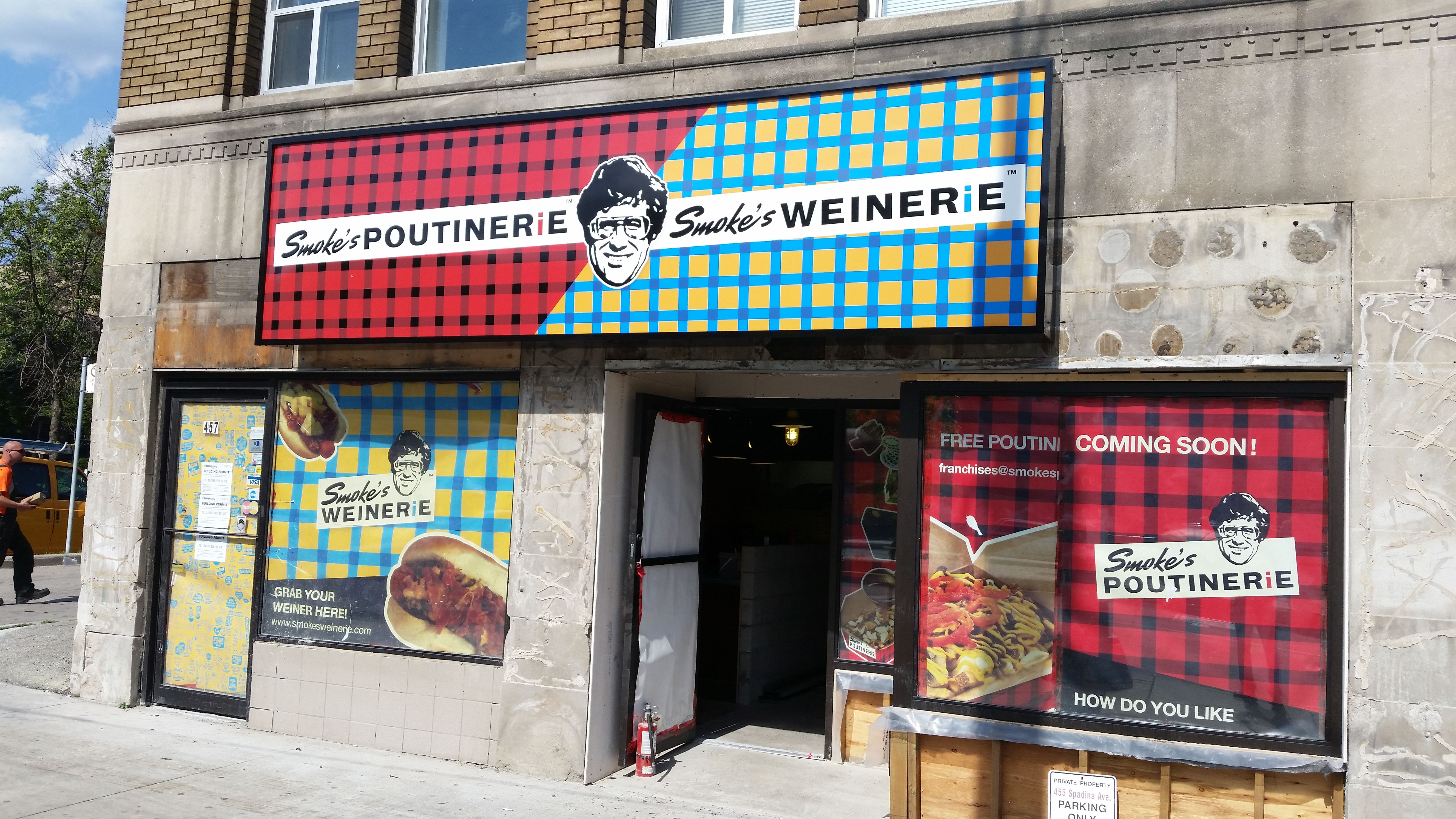 Another Smoke's Poutinerie location almost all set to open up.  Check out the storefront graphics at Smoke's Spadina in Toronto! #signsandsignage #wewantpoutine www.SpeedproDurham.ca