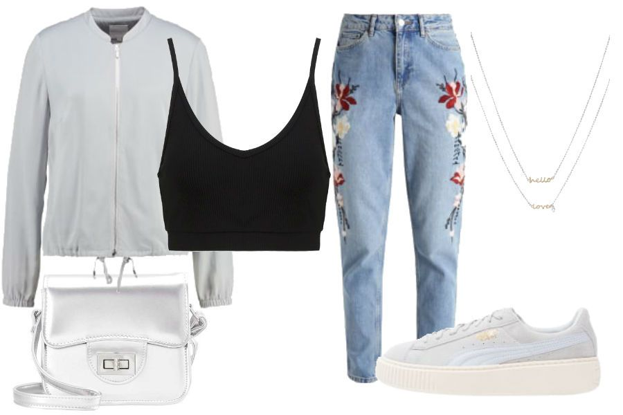 Stylizacja Spodnie Mom Fit Z Haftami Kolaz Materialy Partnera Fashion Polyvore Polyvore Image