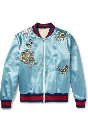 c6ec17cfcb0 Homme Manteaux - Gucci Appliquéd Silk-satin Bomber Jacket