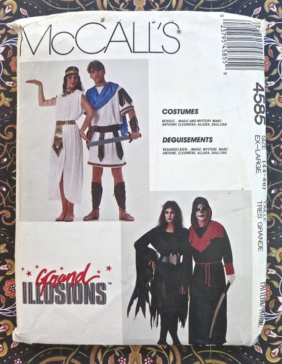 Mens/ Womens Costume Pattern - Marc Anthony and Cleopatra, Allura ...