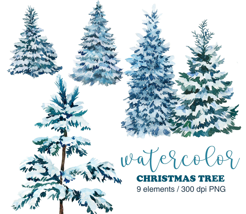 Watercolor Snowy Pine Tree Clipart Pine Tree Png Christmas Etsy Christmas Tree Clipart Christmas Watercolor Watercolor Christmas Tree