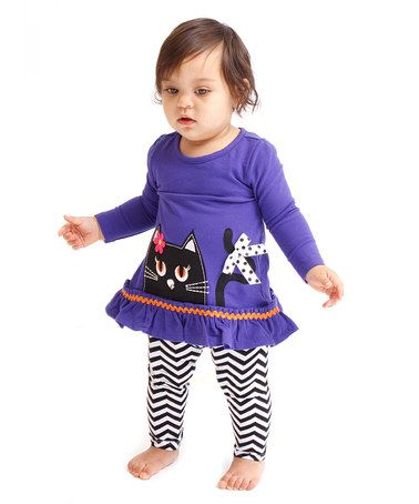 Look what I found on #zulily! Purple Cat Ruffle Top & Leggings - Infant, Toddler & Girls #zulilyfinds
