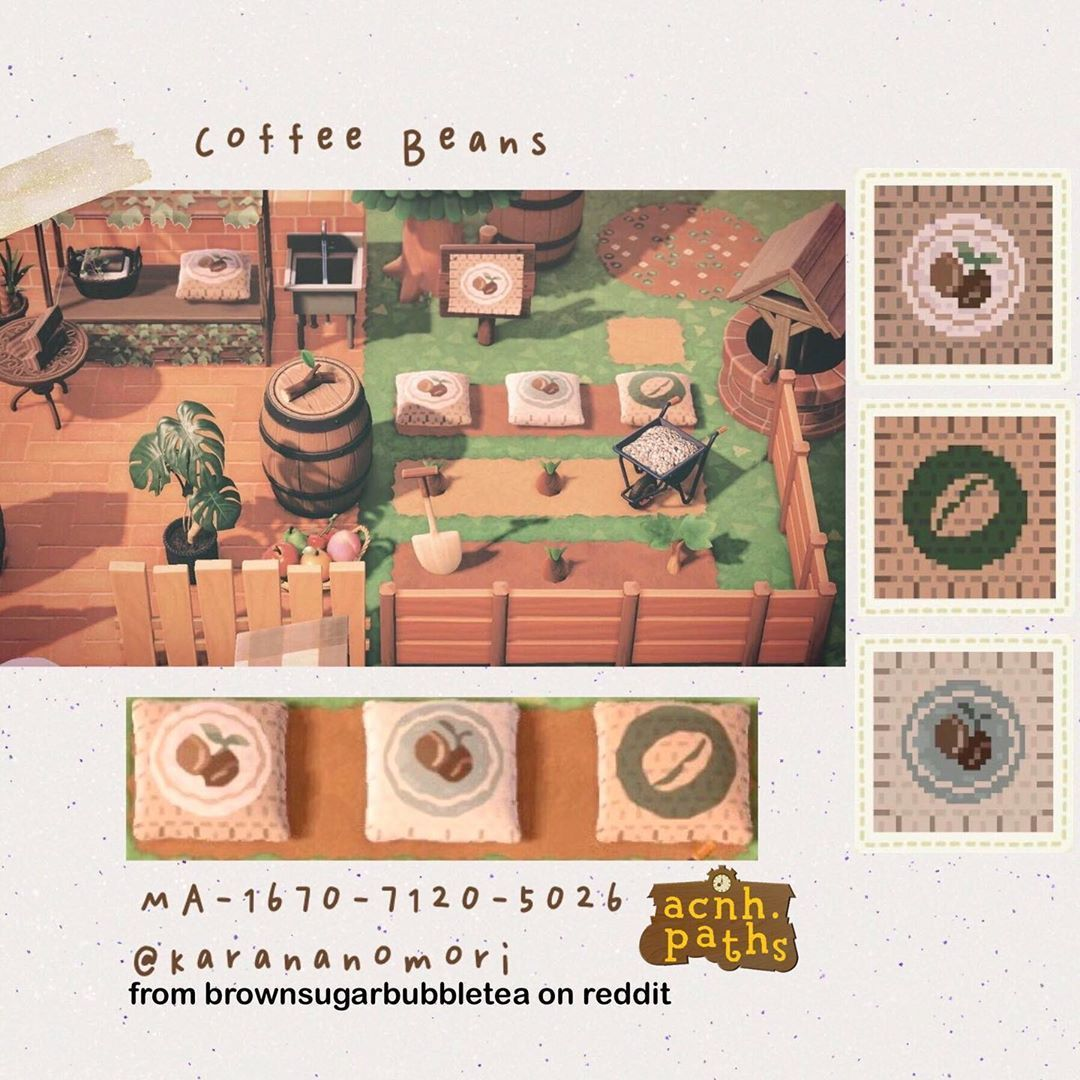 Animal Crossing Patterns On Instagram Coffee Bean Cushion Design You Get Cushions From The Animal Crossing Coffee Animal Crossing Game Animal Crossing Qr