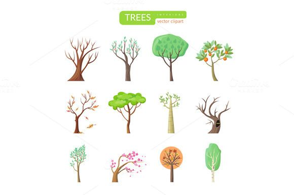 Set of Isolated Trees Design Flat by robuart on @creativemarket