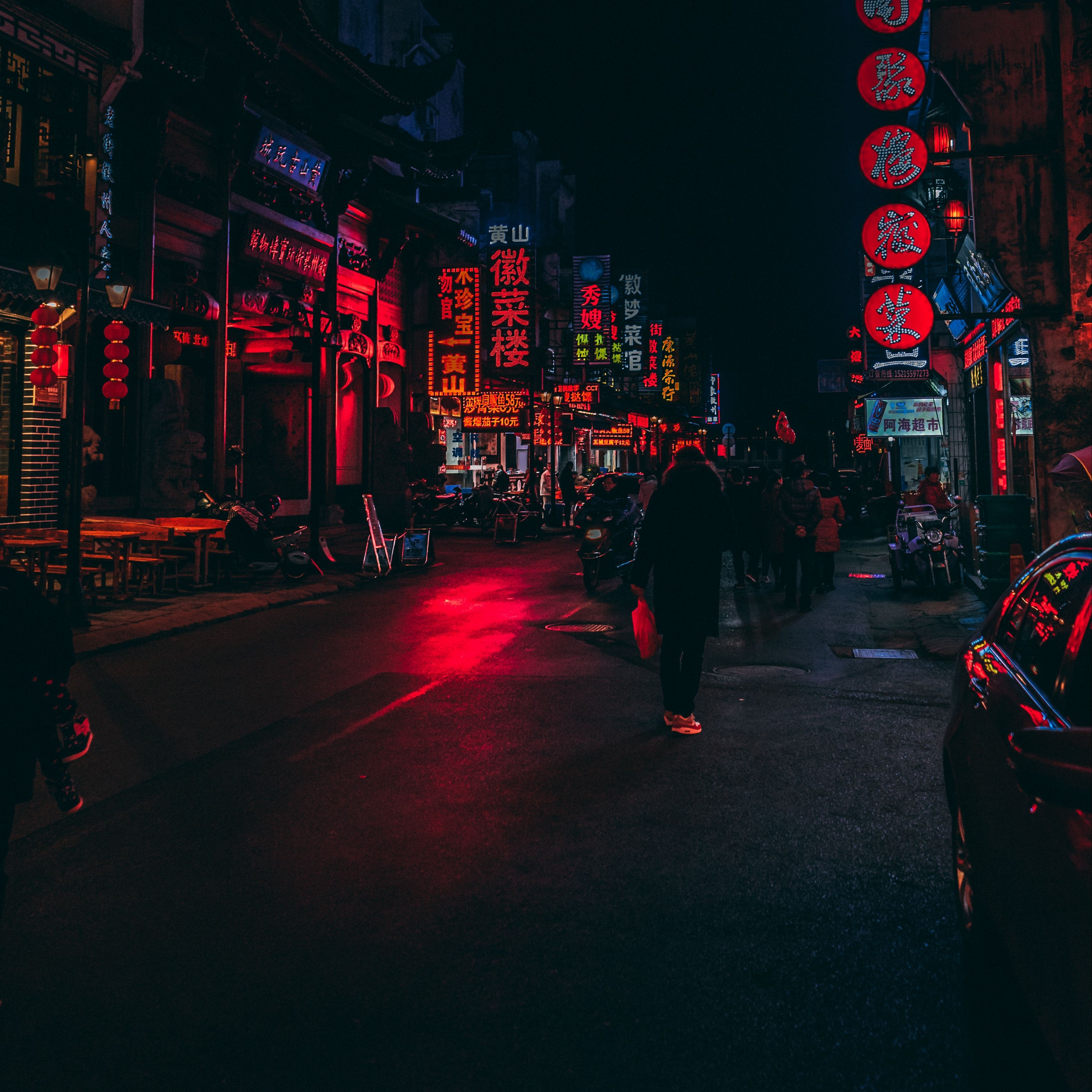 Download Wallpaper 3415x3415 Street Lighting Lights Signs City
