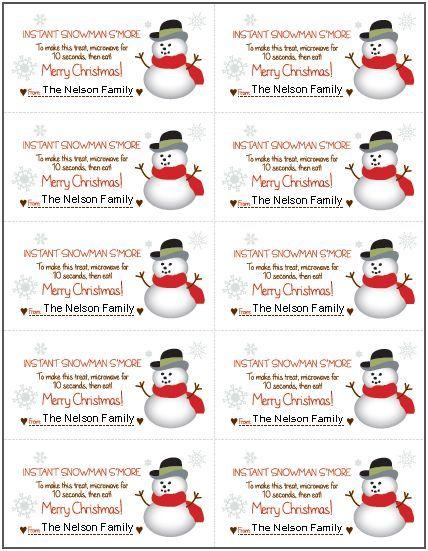 FREE Printable Snowman S'More Gift Tag | CHRISTMAS IDEAS ...