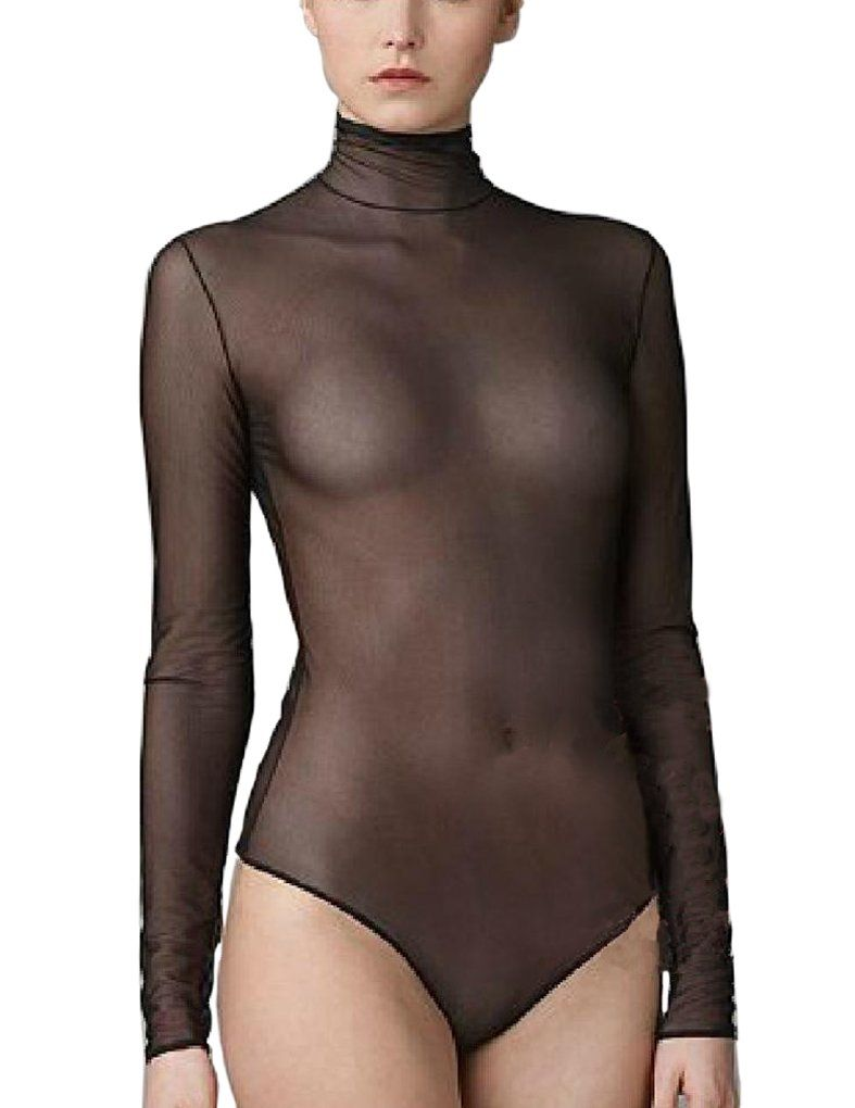 9913d4b43a LinvMe Women's Sexy Bodysuit Mesh See Through Sheer Nylon Bodystocking at Amazon  Women's Clothing store: