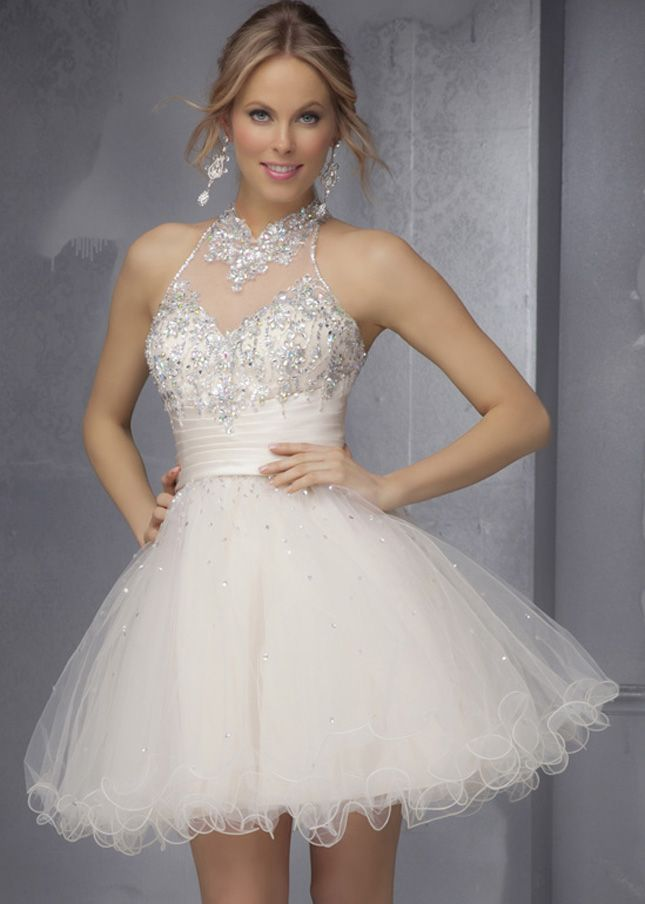 Short Champagne High Neck Beaded Mori Lee 9289 Party Dresses 2015