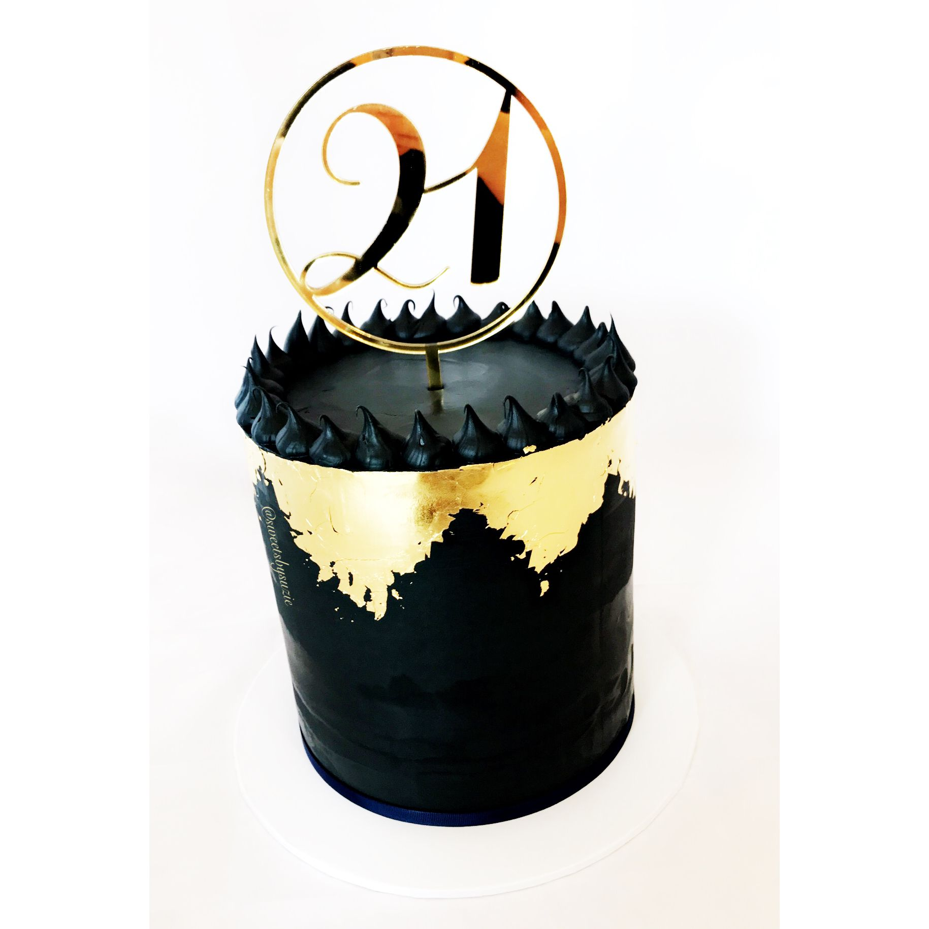 Gold leaf 21st birthday cake made by sweetsbysuzie in