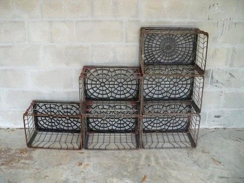 6 Vtg Antique Metal Storage Milk Crate Wall Shelf Geometric Bookcase Ebay