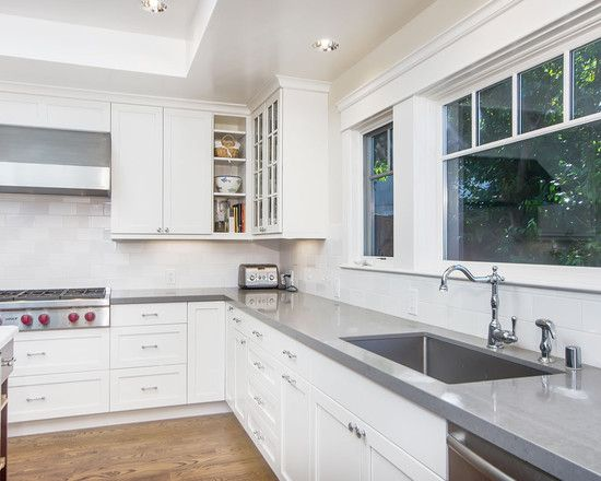 White shaker cabinets and caesarstone pebble countertop | Kitchen ...