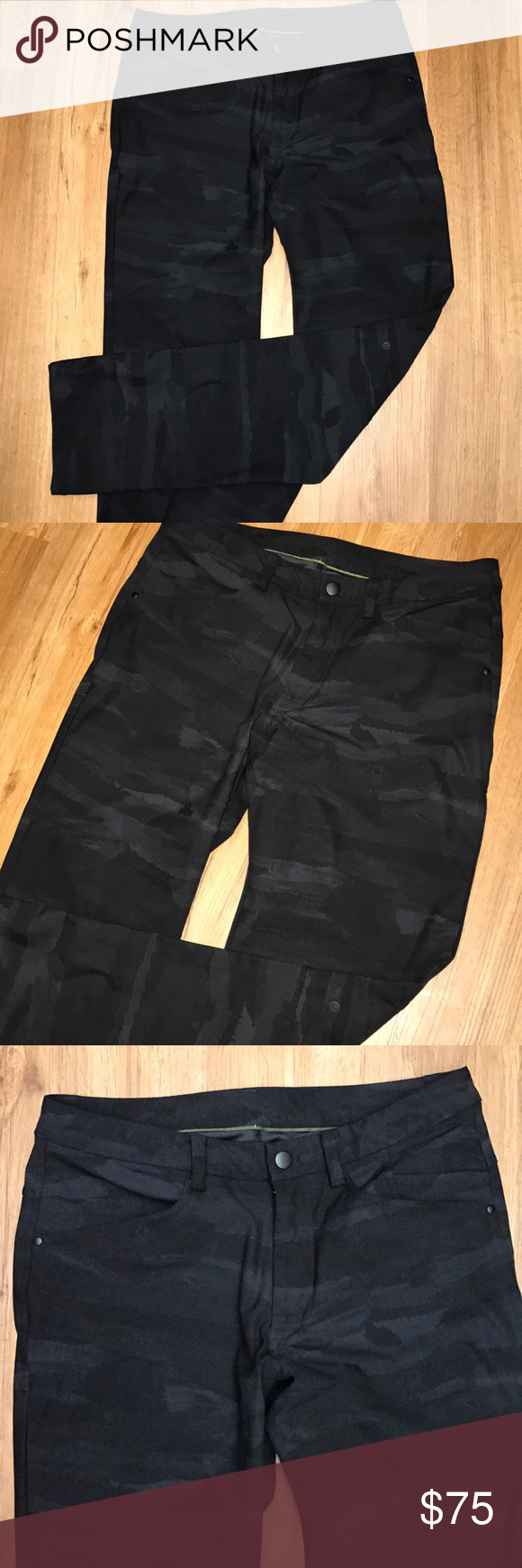b4d2d3e3e2eaff Lululemon men's ABC pants black camouflage 34 Used only Once excellent  condition size 34 inseam 34