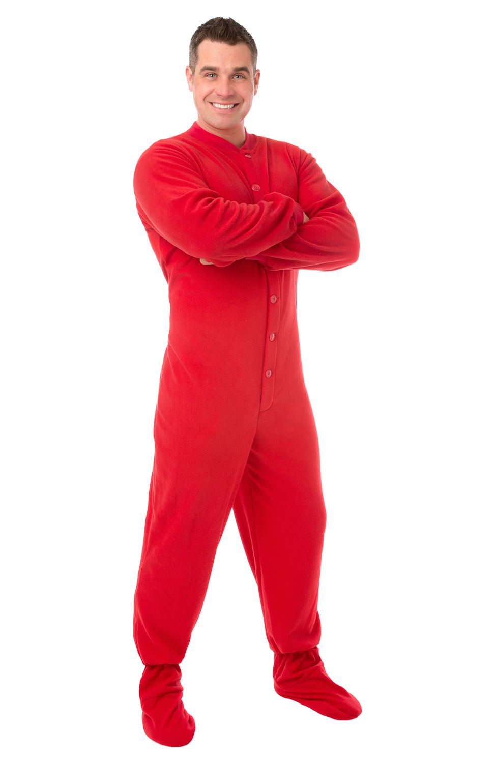 201 Red Fleece for Men & Women Big Feet Pjs red micro-polar fleece ...