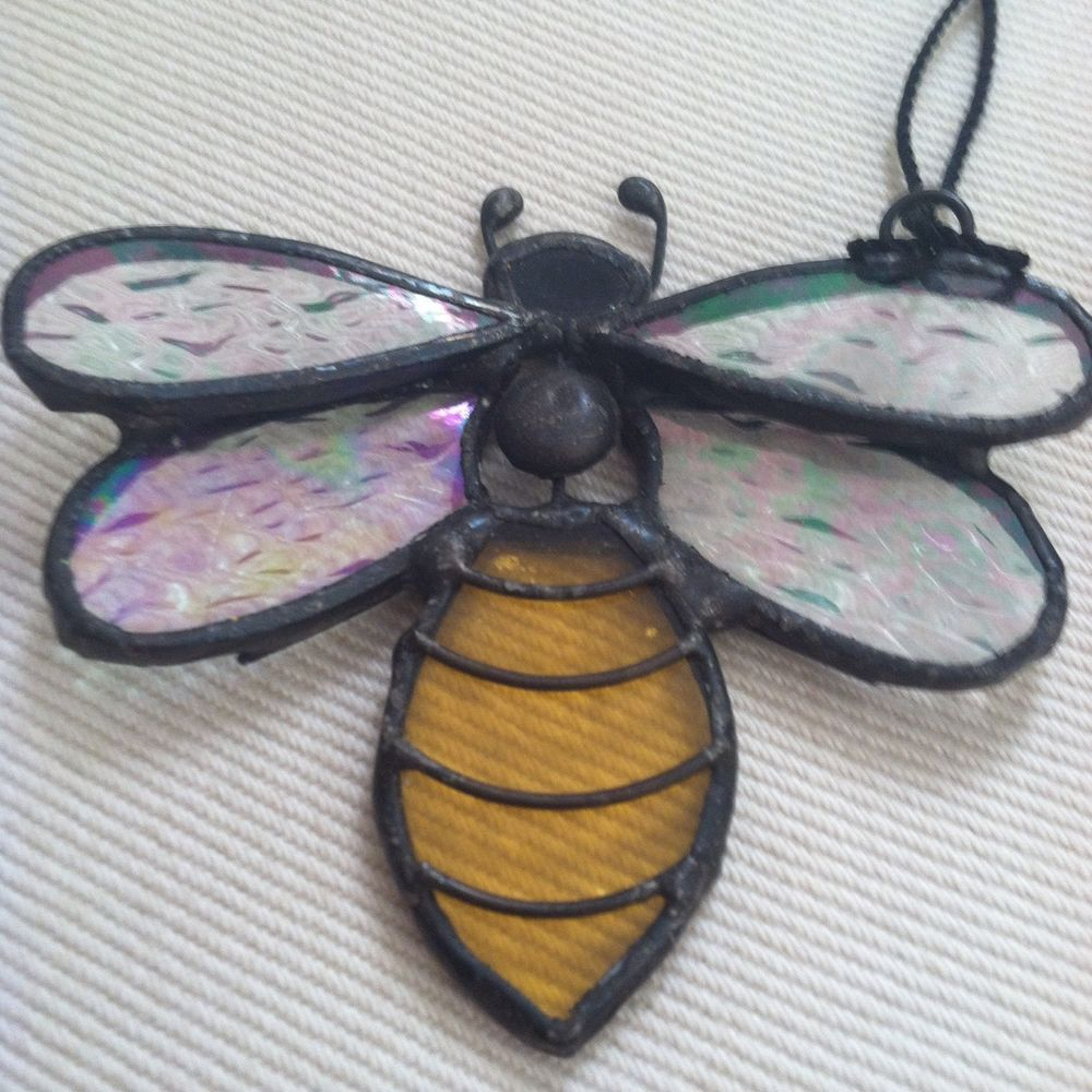 Lot Of Bumble Bee Decorations Stained Glass Glitter Small Honey Comb Hive Figure