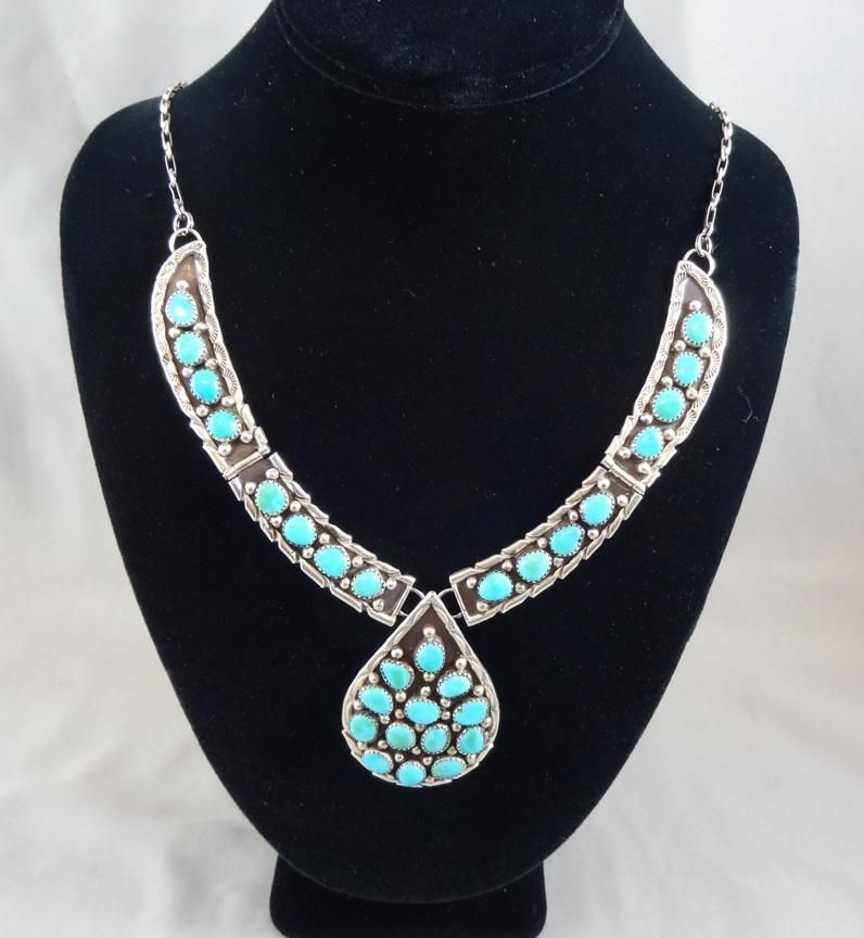 Vintage Navajo Turquoise & Sterling Silver Hinged Collar Necklace Signed C [S093 #Hinged #nativeamerican #turquoise #necklace #sterlingsilver