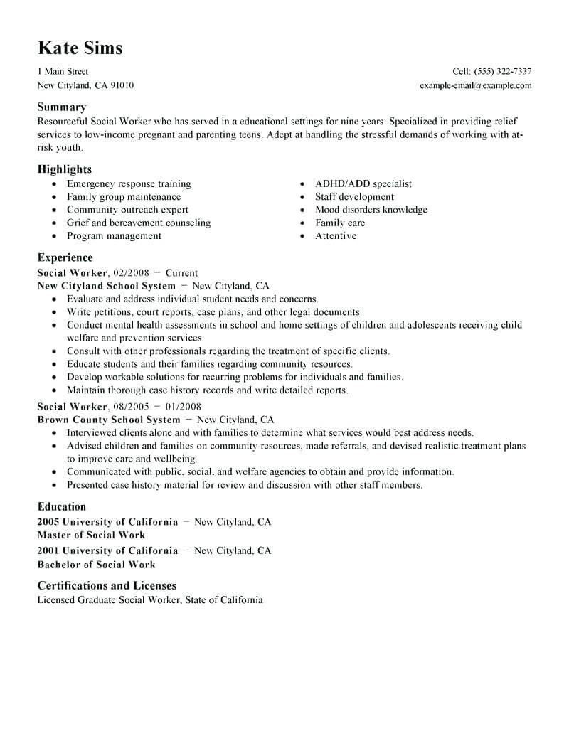 30 social Worker Resume Summary Social work, Good resume