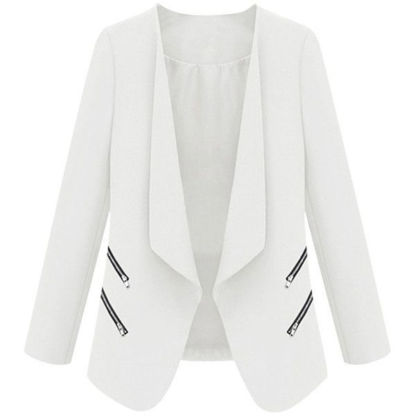 White Ladies Elegant Stand Collar with Zipper Blazer (83.980 COP) ❤ liked on Polyvore featuring outerwear, jackets, blazers, coats, white, zip jacket, zipper blazer, white zipper jacket, white jacket and zip blazer