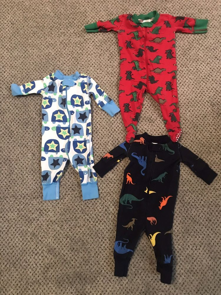 efb6651fbc HANNA ANDERSSON LOT OF 3 BOY'S ONE PIECE PAJAMAS SZ 0-6 mos (50 cm ...