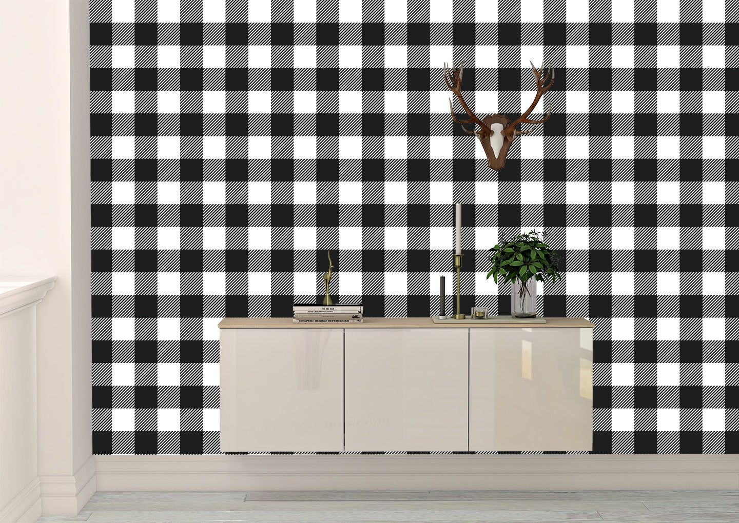 Removable Peel And Stick Wallpaper Black And White Plaid Etsy In 2020 Peel And Stick Wallpaper Vinyl Wallpaper High Quality Vinyl