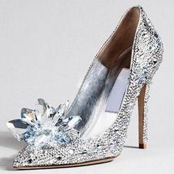 3bd814498b5 Luxury Rhinestone Pointed Toe Stiletto Cinderella Crystal Heels
