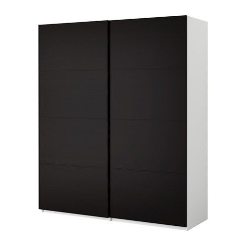 PAX Wardrobe with sliding doors - Pax Malm black-brown, white, 78 3 - armoire ikea porte coulissante