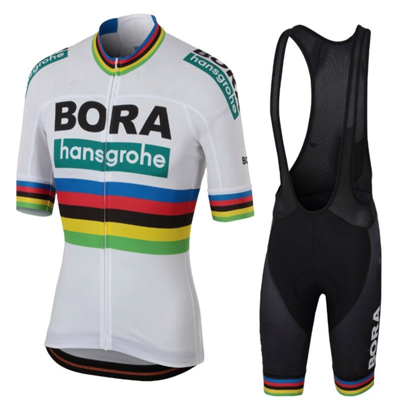 32882998372 Aliexpress UCI 2018 BORA team men short sleeve cycling jersey  Tour de France ropa ciclismo bicycle clothing bike clothes bib shorts set  on ... 6c85dbe07