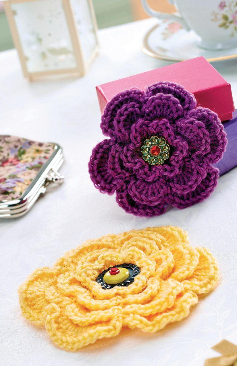Layered crochet flower brooch | crochet | Pinterest | Crochet ...