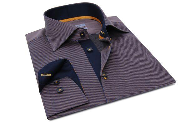 Blue and Orange Striped Shirt Orange Lining  89.90 USD