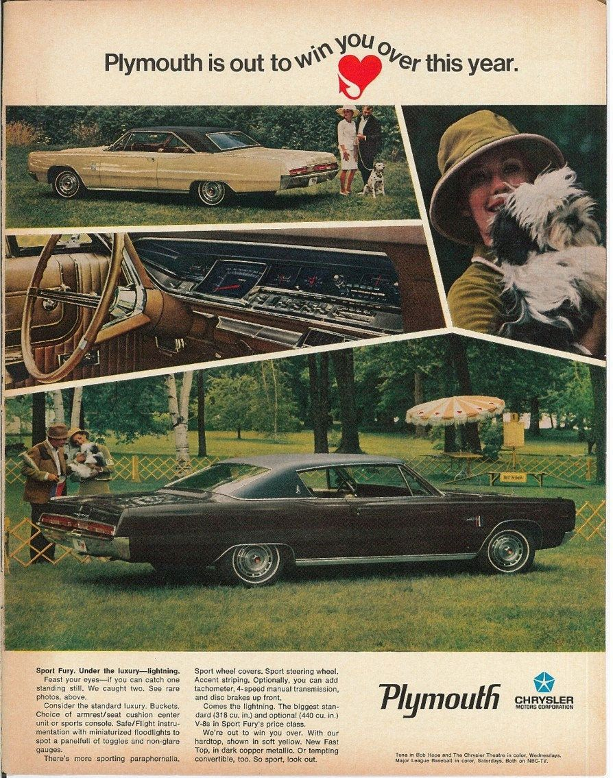 Plymouth Fury 1967 Old Car Ad Vintage Car Advertisement Etsy In 2020 Car Ads Plymouth Cars Retro Cars