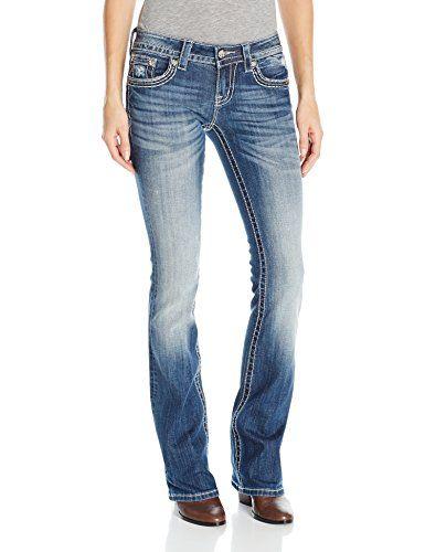 Miss Me Women's Wing Pocket Boot Cut, Medium Blue, 31 Mis-$99.50