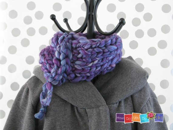 Holiday Gift For Her Chunky Yarn Knit Cowl Scarf by HowDoYouDoIt