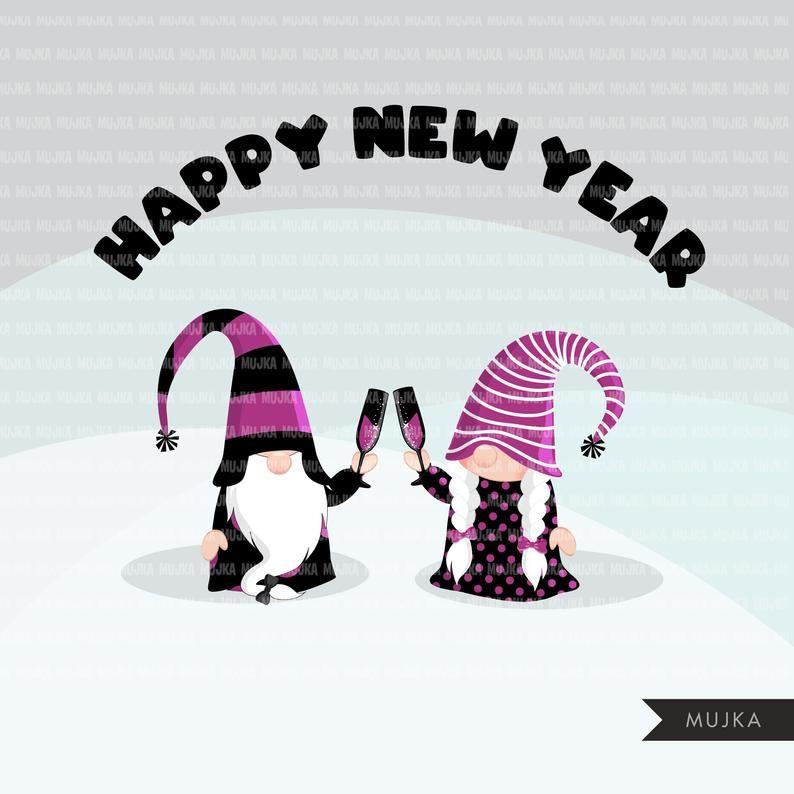 Gnome Clipart, happy New year graphics, celebrating gnomes
