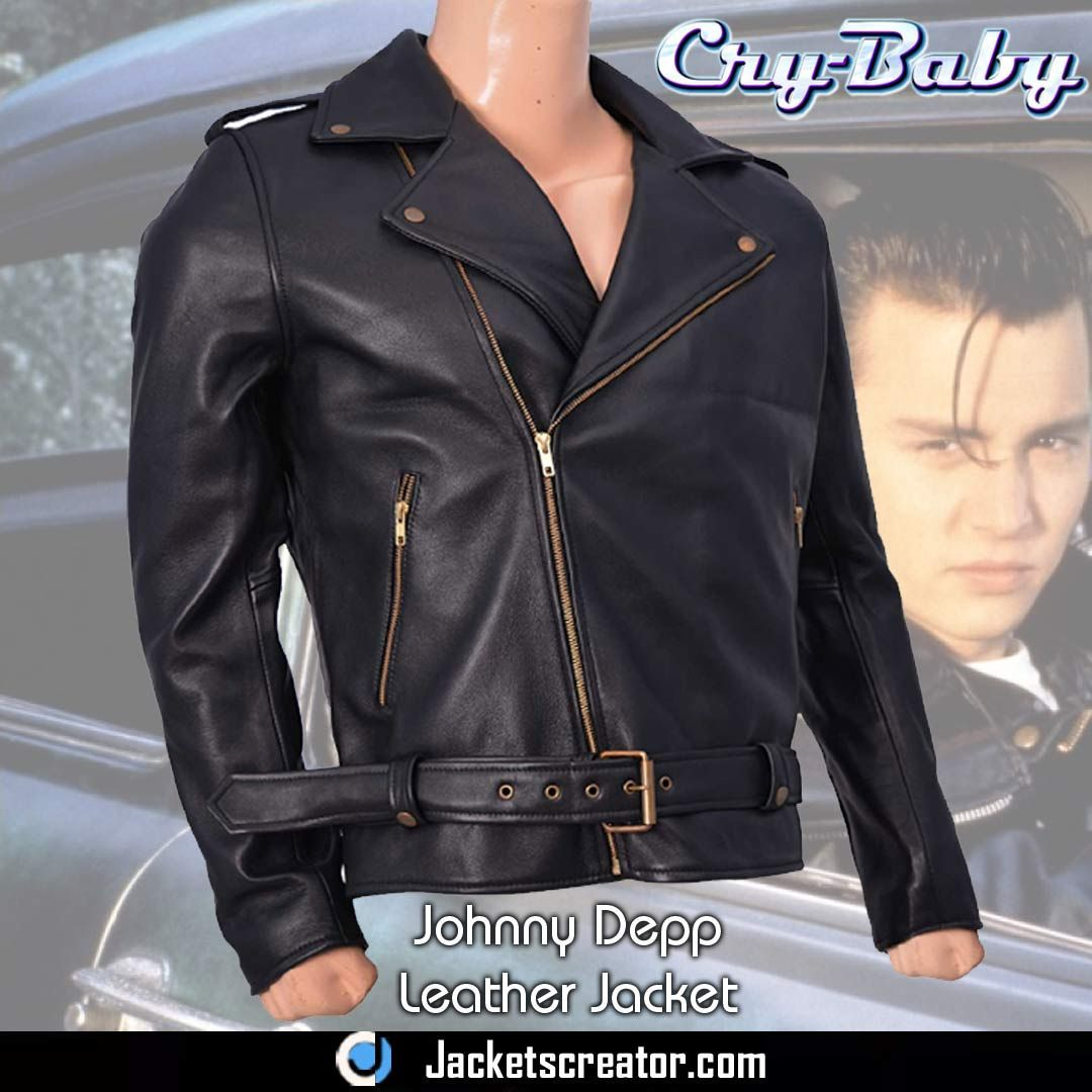 58e8fc557 #JohnnyDepp #CryBaby Wade Walker Black Leather Biker Jacket. #OOTD #Style  #Fashion #Men #Biker