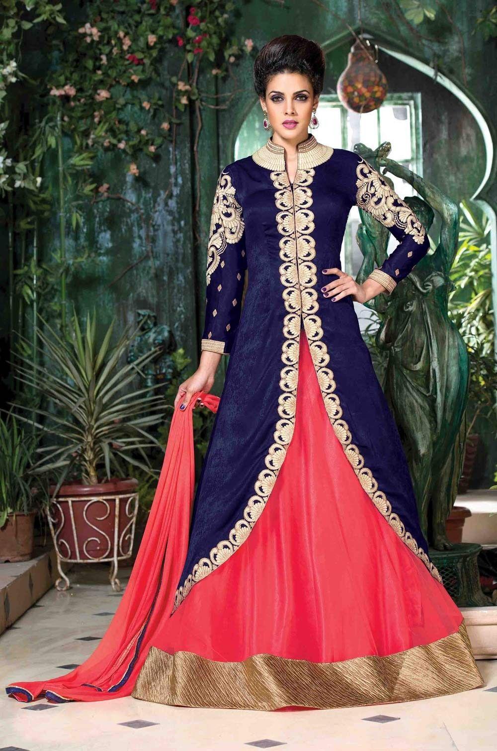 Buy designer women gowns online new york blue pink for Indian wedding dresses new york