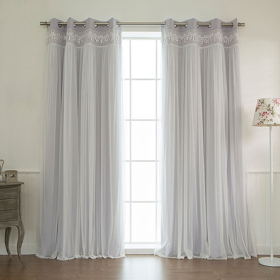 Decorinnovation Sheer Overlay 96 Grommet Top Blackout Window Curtain Panel Pair In Curtains Stylish Curtains Panel Curtains
