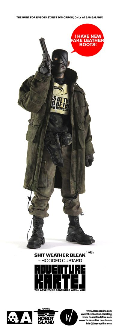 Olive oversized overcoat worn over a black sweater. Camouflage cargo pants with a draw string hem tucked in black Adidas GSG 9s (insert military boot substitute). Black nylon military belt with small pouches. Black one eyed mask.  bkleakasshit.jpg (397×1100)