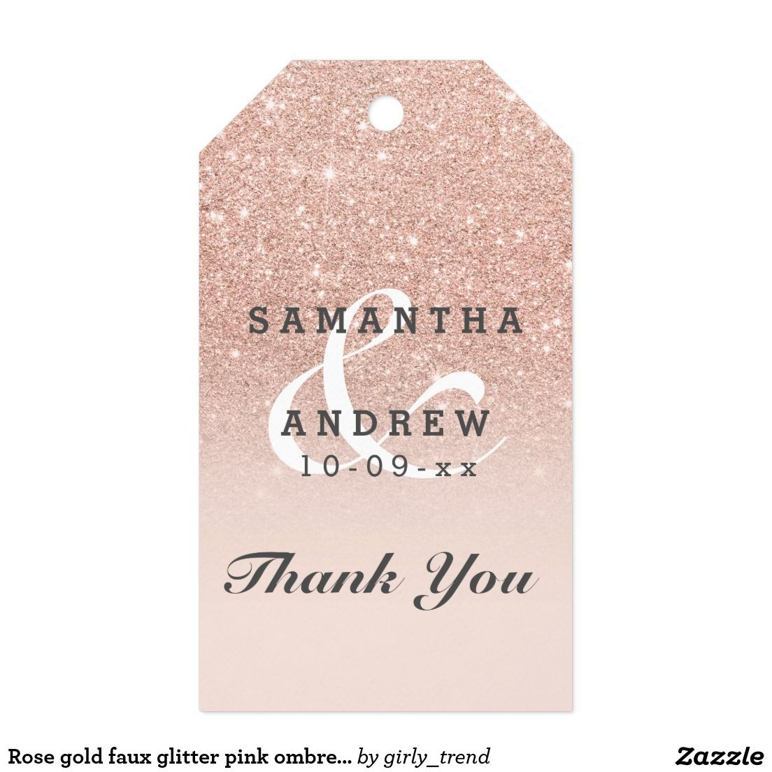 Rose gold faux glitter pink ombre wedding favor gift tags ...