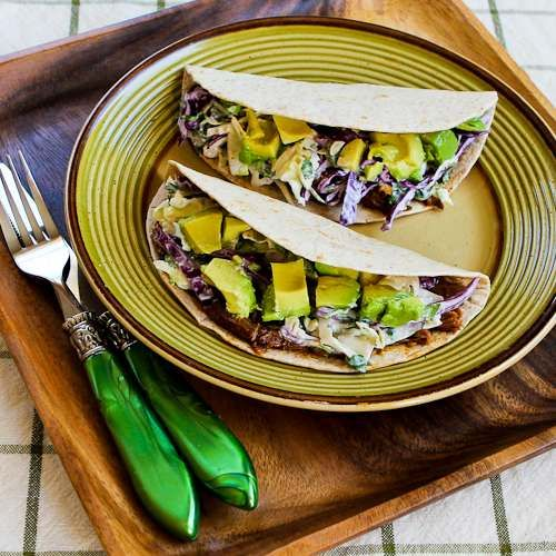Slow Cooker Shredded Beef Tacos with Spicy Slaw and Avocado, from Kalyn's Kitchen