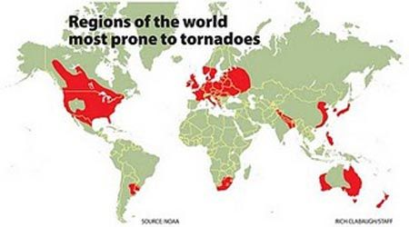 regions of the world prone to tornadoes | Tornadoes ...