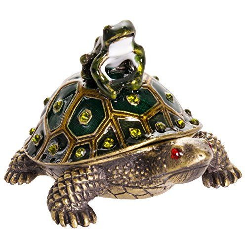 Welforth Turtle with Frog Jewelry Box w Crystals Friendly Faces