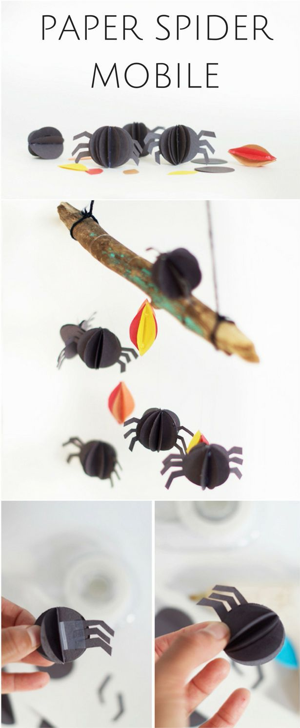 Paper Spider Mobile. Cute, easy and non-creepy  spider craft to make with and for kids