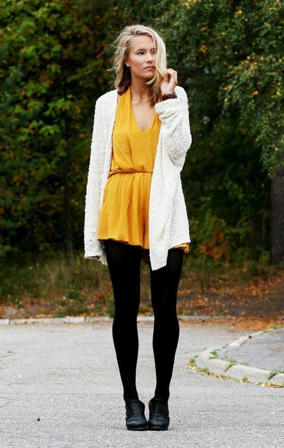 1ea79879479 The bright yellow and black tights are a great combination with a simple  pair of ankle boots. Dark bangles and possible a black belts would life  this outfit ...