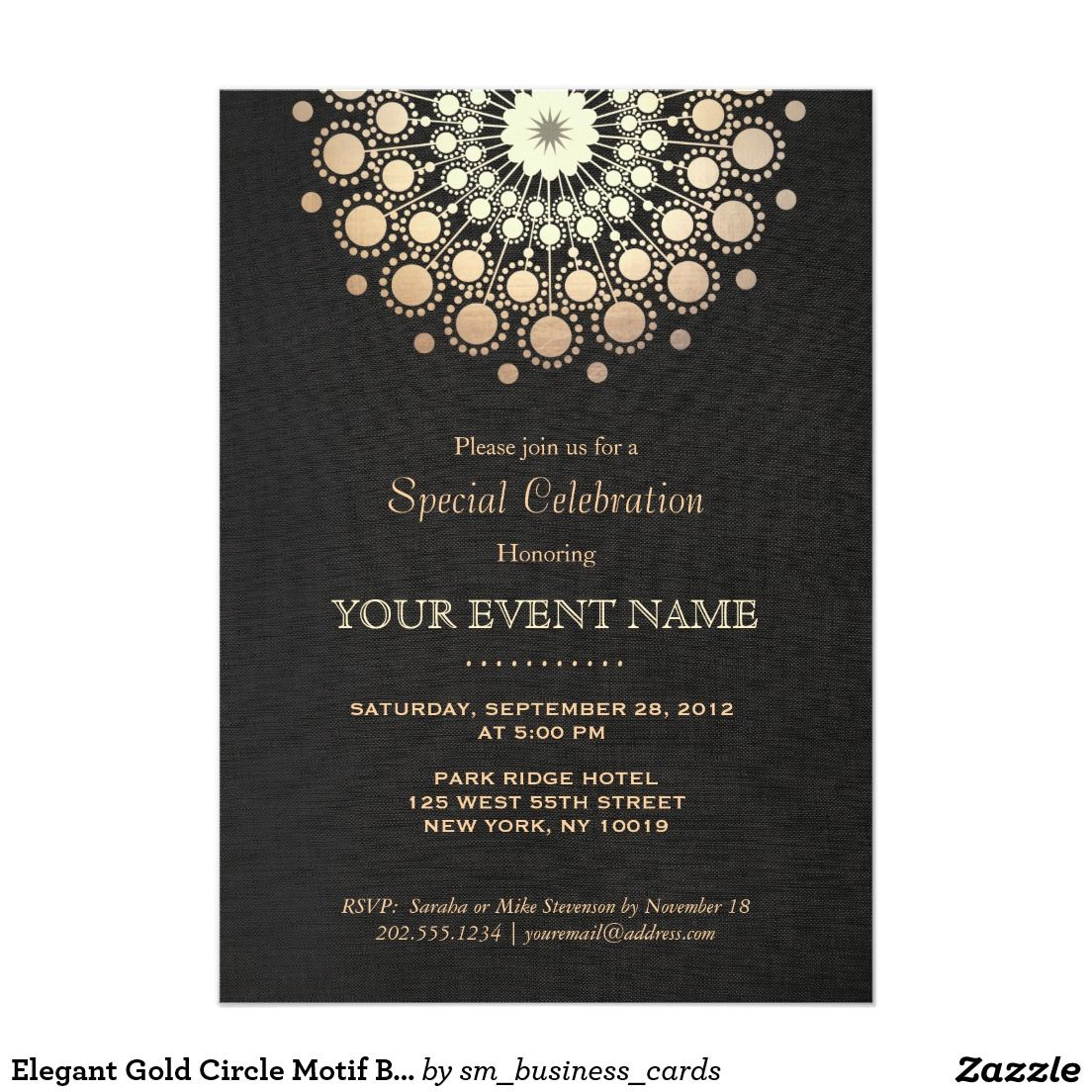 Elegant gold mandala black formal invitation invitation card elegant gold circle motif black linen look formal 5x7 paper invitation card designed by maura reed stopboris Image collections