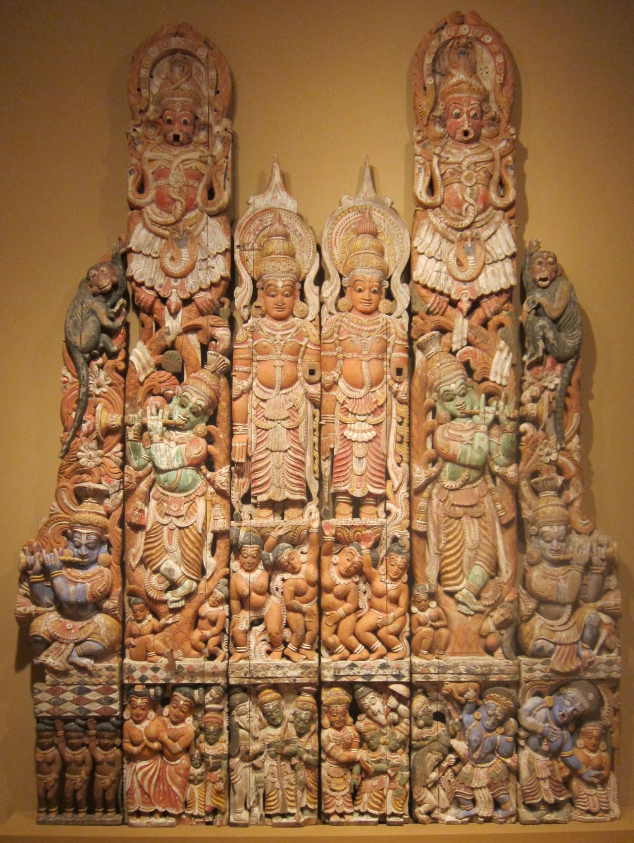 Hindu God Ganesh Lekshmi Devi Wall Vertical Panel Pair Wooden Vintage Sculpture