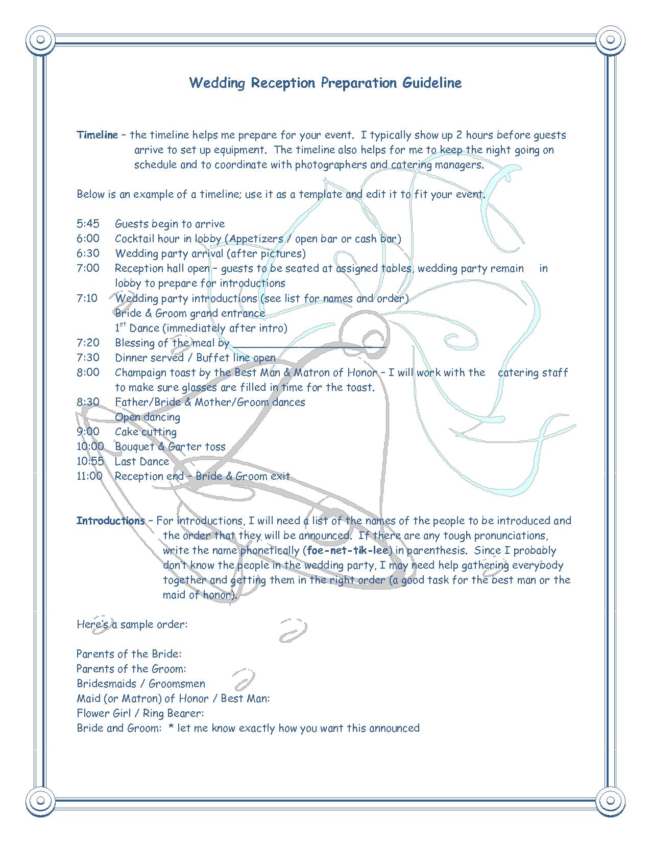 Wedding Reception Schedule Template Romeondinez