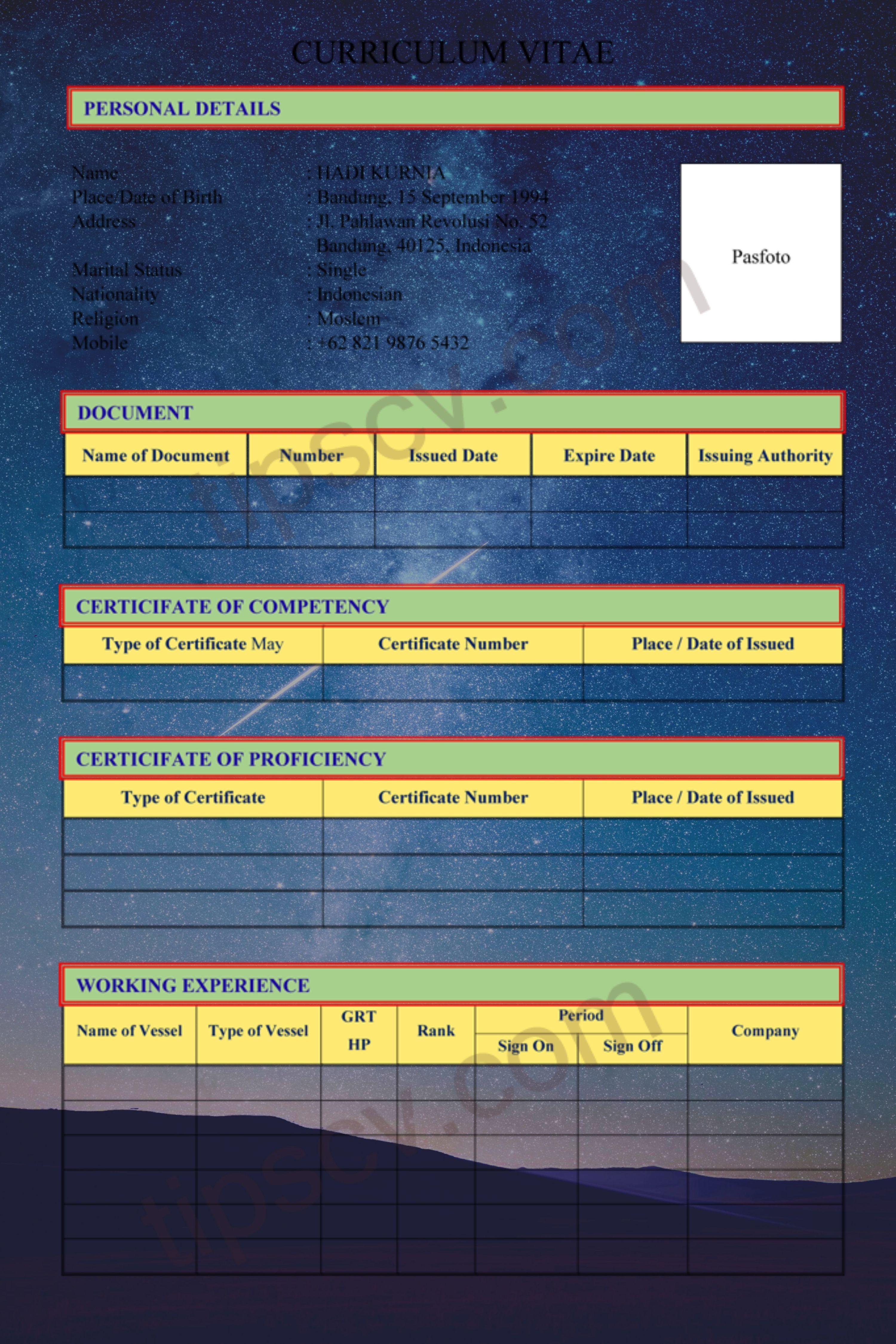 Download Contoh Cv Pelaut Format Doc Pdf Di 2020 Cv Kreatif Lautan Kapal