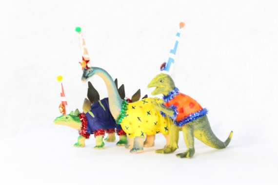 Small Party Dinosaur Set of 3  - painted birthday decoration, cake topper, room decor. Stegosaurus, brontosaurus, trex.